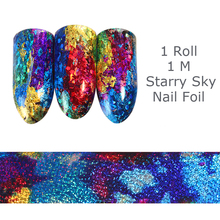 1 Roll 1M Gradient Starry Sky Nail Foil Blue Holographic Paper 1m Manicure Nail Sticker Decorations(China)
