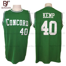 BONJEAN Cheap Shawn Kemp 40 Concord High School Minutemen Away Basketball Jersey Throwback Green Embroidery Retro Mens Shirts(China)