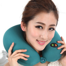 U Shaped Pillow Slow Rebound Memory Foam Pillow Travel Health Care Headrest Battery Operated Ergonomic Head Massage Neck Pillow