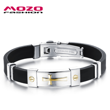 MOZO FASHION Newest Men Jewelry Black Silicone Rubber Bracelet Silver / Golden Cross Stainless Steel Trendy Men Bracelets MPH929