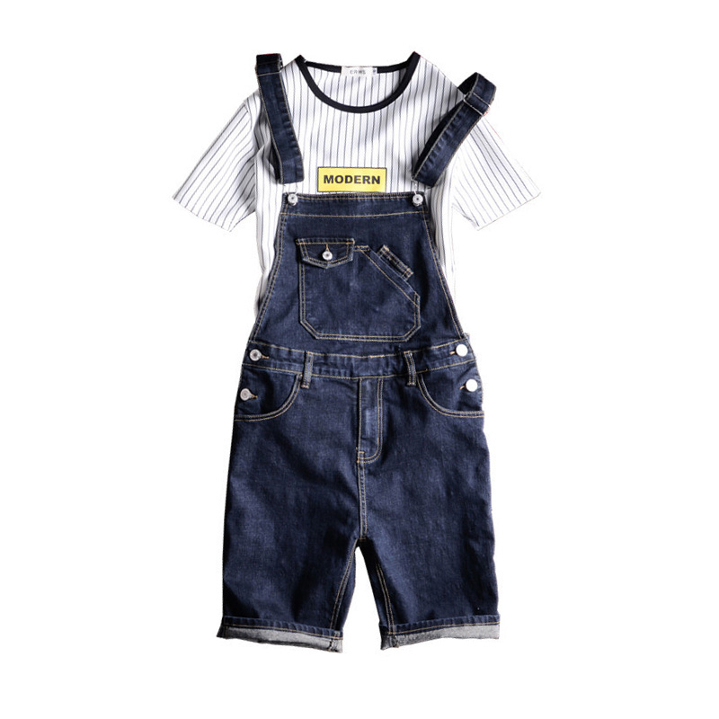 2017 New Male Denim Jumpsuit Short Blue Denim Overalls Men Shorts Suspender jean shorts Bermuda Masculina