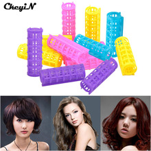 12Pcs/Set ABS Plastic Hair Rollers DIY Hair Styler Curls 20*68mm Makeup Hair Roller Curler Clip Flexid Rods for Dry/Wet Hair _48