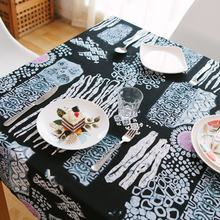 Ocean abstrakte square fabric linen cotton Tropische dining tablecloth table cover blue natural black Mediterranean art painting