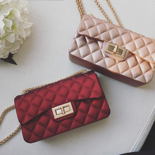 2017 Jelly Flap Crossbody Bags For Women High Quality Diamond Lattice Hasp Pink Chain Environmental Rubber Shoulder Bags Fashion