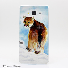 4082CA Winter Cougar Transparent Hard Cover Case for Galaxy A3 A5 A7 A8 Note 2 3 4 5 J5 J7 Grand 2 & Prime