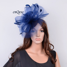NEW Navy blue Chapeau de Fete sinamay hat Crin Fascinator wedding hat w/cocktail feathers for Kentucky Derby,church,races,QFC002(China)