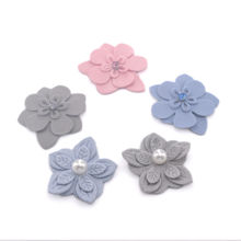 5CM DIY Beatiful Handmade Fabric Flowers Sew on Rhinestone Pearl Decorations for Kids Hair Accessories Bride Dresses Iron on(China)