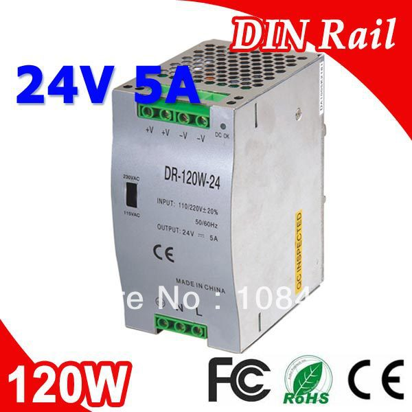 DR-120-24 Single Output Din Rail LED Power Supply Transformer DC 24V 5A Output SMPS<br>