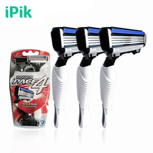 3Pcs/Lot Razor For Men's Razor 4 Layer Shaver Travel Manual Shaving Razor 3 Razor Blades For Man Face Care Stainless Steel Blade