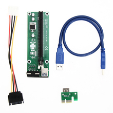 USB 3.0 PCI-E Express Riser Card Adapter PCI-E 1 x 2 x, 4 x 8 x 16 x Extender SATA 15Pin to 4Pin Power Cable for Miner Machine