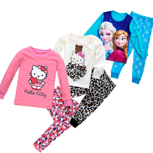 Children Hello Kitty Warm Cotton Pajamas Sets Baby Girls Boys Anna Elsa Pyjamas Pants 2pcs Homewear Kids Tracksuit Clothing Suit(China)