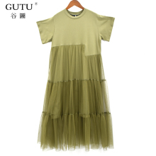 [GUTU] New Women summer Fashion Solid Color Dress Stitching Net Yarn Round Collar Short Sleeve Loose Dress Female Tie 3366(China)