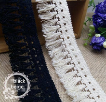 50Yards Free Shipping Cotton Beige/ black Color Fringe Venice Lace Sewing Trims Craft 4.5cm TL0011(China)