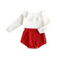 Cute Newborn Baby Girl Long-sleeved knitting stitching Romper Warm Jumpsuit Outfits Clothes(China)