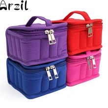 Carrying Travel Holder Durable Portable 16 Bottles Essential Oil Case Cotton Storage Organize Bag Double Zipper