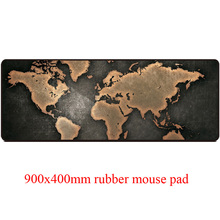 Classic world map style computer mouse pad with large size 900 x 400 mm and precise edge locking cartoon printings PC mouse mat(China)
