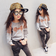 2017 Little Girls Fall Leopard Leisure Clothing Suit Children's Wear Kids Long Fleece 2 Pcs Kids Casual Tops + Harem Pants G959(China)