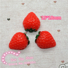 wholesale resin flat back red strawberry fruit cabochon crafts 15*18mm 50pcs/lot(China)