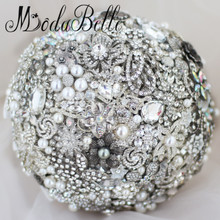 Custom Diy Handmade Flowers Broach Wedding Bouquet Crystal Pearl Beaded Bridal Bouquet Rhinestone Jewelry Bride Casamento Buque