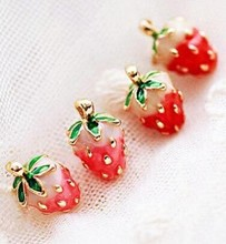 ER390  Japanese girl fashion magazines recommend small strawberry Caiyou stud earrings women jewelry 2016