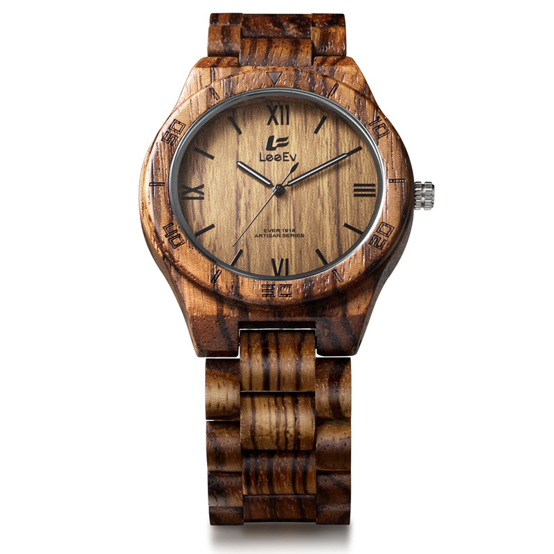 LeeEv Mens Watches Fashion All Zebra Wood Quartz Watch for Male Casual relojes homme Luminous Pointer Wristwatches EV1918<br>