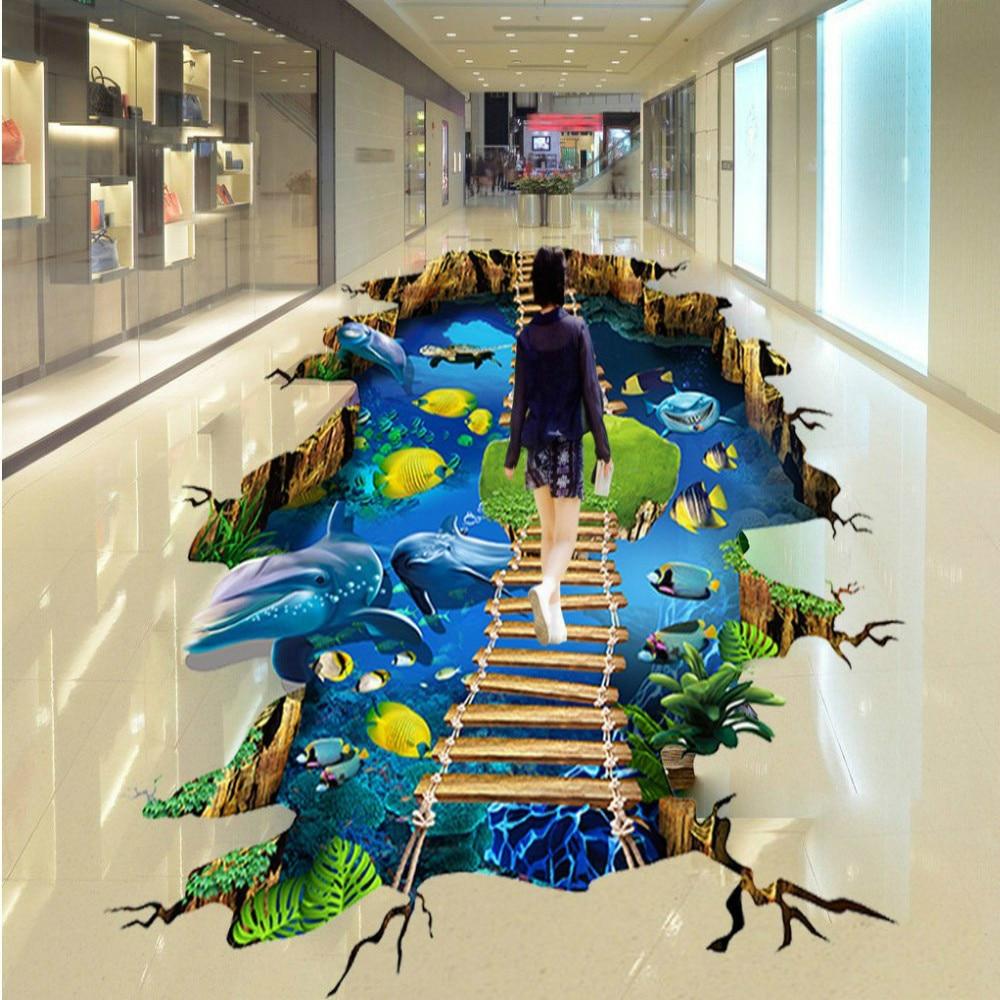 Free Shipping Shopping Mall 3D Stereo Seaworld Dolphin Ladder Floor Painting wallpaper mural bedroom living room floor<br>