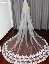 3 M long Vintage Style Cathedral Bridal Veil Long Lace Edge Veil with comb white/ivory Wedding Veil Luxurious Bridal Veil