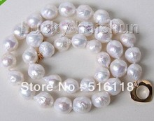 "Free Shipping 17"" 11mm baroque white Reborn keshi pearls necklace filled gold clasp"