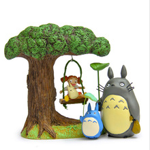 Mini Cartoon Totoro figuren set toys 2016 New My neighbor totoro Blue figurines gifts doll Chinchilla Xiaomei with leaves(China)