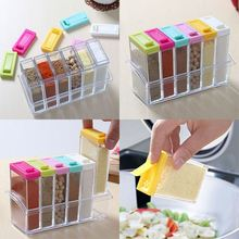 Storage Seasoning Boxes 1set 6 Spice Jar Kitchen Condiment Box Acrylic Spices Storage Box New Arrival(China)