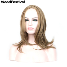 45cm medium blonde wig straight hair heat resistant women synthetic wigs bob high temperature fiber WoodFestival(China)