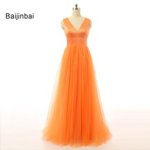 Baijinbai Elegant Orange Evening Dresses 2017 Robe De Soiree Organza A-Line V-Neck Sleeveless Vestido De Festa Formal Dresses(China)