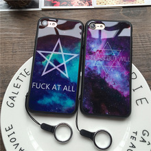 Wholesale Fashion Trend Star Lovers For iPhone 7 / 7 Plus Phone Cases Soft Plastic Mirror Shell Lanyard Protection Mobile Cover