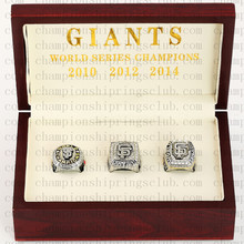 One set (3PCS) 2010 2012 2014 San Francisco Giants World Series Championship Ring With Wooden Box Replica Rings(China)