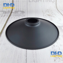 Free shipping D220mm*H50mm E27 lamp shade black finished cage edison lamp shade D42mm hole America loft style lamp cone shade(China)