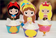 48pcs Snow white princess cupcake wrappers kids birthday decoration decor festa cake toppers baby shower party supplies AW-0048(China)