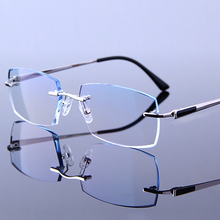 Gentleman Reading Glasses Men Fashion Rimless Eyeglasses Hyperopia HMC Coating Male Eyewear Silver frames Man Presbyopic Glasses(China)