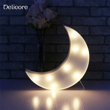 DELICORE Novelty White Moon Night Light Children Bedroom Nursery Night Lamp Mini Light Emitting Children Room Decoration S029-W