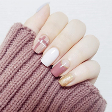 24Pcs Fashion Fake Nails Glitter Gold White Pink Mauve Square Artificial Nail Tips with Glue Sticker for Office Home Faux Ongle(China)