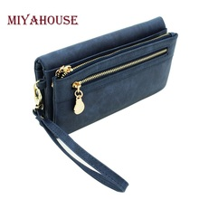 High Capacity Fashion Women Wallets Long Dull Polish PU Leather Wallet Female Double Zipper Clutch Coin Purse Ladies Wristlet(China)