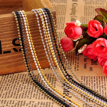 10string/lot 1.5mm 2.4mm silver plated Ball beads necklace Chain with Clasp Hook alloy Silver Gold Bronze 70cm Jewelry Chains