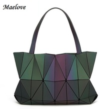 Maelove Women Luminous Bag Geometry  Diamond Tote  Shoulder Bags Laser  Silver Plain Folding Handbags Diamond shape Hologram