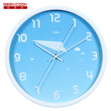 Geekcook Paper Plane Wall Clock Modern Design Children Bedroom/Study Mute Wall Watch Home Decor Cartoon Digital Clocks Wall(China)