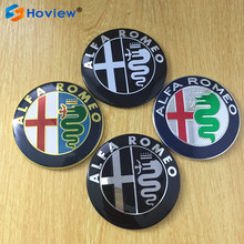 2 pcs shuaizhong 74mm new ALFA ROMEO Car front Logo badge rear Truck sticker Decals for Mito 147 156 159 166 GT Spider Giulietta(China)
