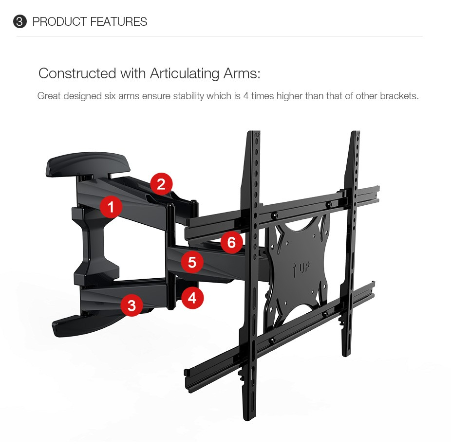 Loctek Plasma Flat Retractable LCD Bracket TV Mount Wall Mount Wall Stand Adjustable Mount Arm Fit for 32~70 Max Support 45KG<br><br>Aliexpress