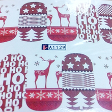 1pcs Christmas Theme Nail Art Decals Fashion Red Deer Xmas Full Designs for Nail Decorations Watermark Tips SAA1129(China)