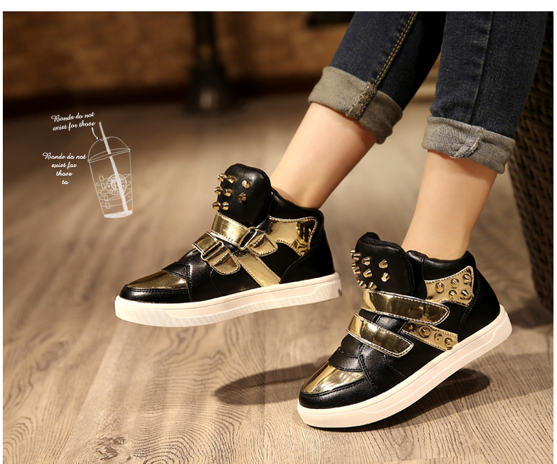 Kids Shoes Glowing Sneakers Baby Boys Girls Sport Shoes New Autumn tenis infantil Children Sneakers Black White with Gold Rivet 16