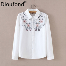 Buy Dioufond White Turn Collar Women Blouse Cotton Embroidery Female Shirt Blouses Casual Full Women Clothing Women's Tops 2018 for $14.50 in AliExpress store