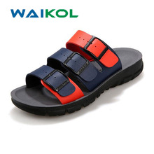 Waikol 20% OFF Men's Sandals Slippers Leather Cowhide Sandals Outdoor Casual Men Leather Sandals for Man(China)