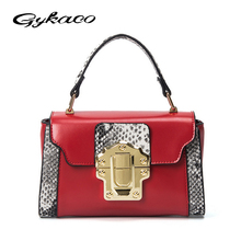 Gykaeo Brand Women Fashion Snake Handbag Ladies Pu Leather Small All Match Portable Red Shoulder Messenger Bag Female Tote Bags